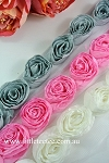 Crinkled roses on mesh. 1mtr Ivory, grey, pink