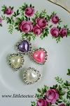 Coloured pearl & diamante heart buttons x 1