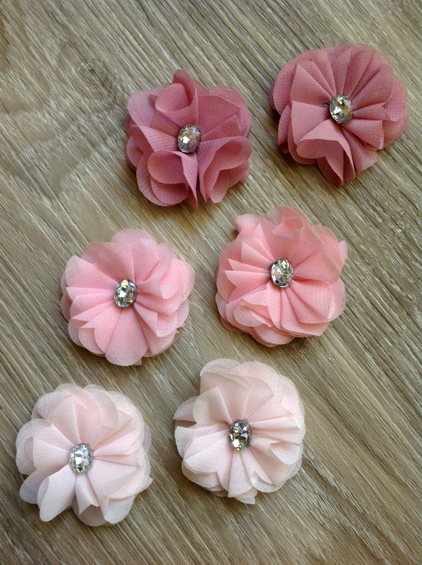 Fabric Flower 5cm Felt Backed X1 Pinks