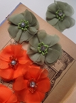 CLEARANCE!! Fabric flower with diamond & beads. GREEN. x1