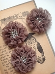 Bejeweled Lace Flower applique. Mocha.
