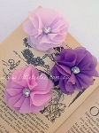 Fabric flower. Felt backed. x1. Purples