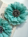 Empress beaded flower x 1. Aqua