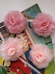 Tulle puffs. Fabric flowers x 2. Red
