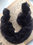 Chiffon ruffled neck trim - 'Corrie'. Black x1