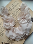 Chiffon ruffled neck trim - 'Corrie'. Soft beige x1