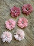 Fabric flower. 5cm Felt backed. x1 PINKS